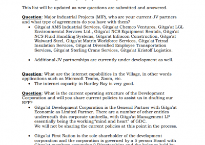 Gitga'at Strategic Development Planning RFP Questions From Potential Proponents: 1