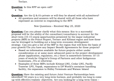 Gitga'at Strategic Development Planning RFP Questions From Potential Proponents: 2