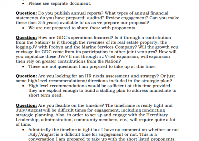 Gitga'at Strategic Development Planning RFP Questions From Potential Proponents: 3
